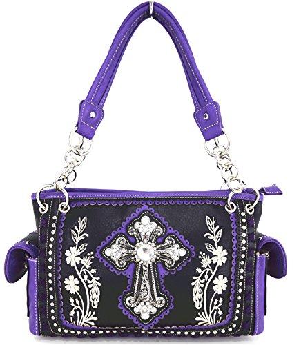 Blancho Biancheria da letto delle donne [Fiore] PU borsetta di pelle Moda Elegante Borsa Viola Handbag-Viola