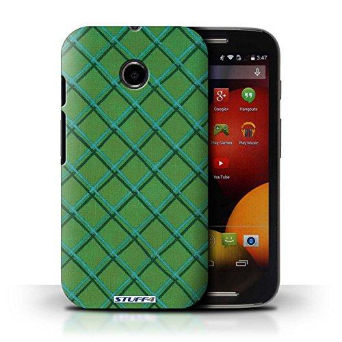 Kobalt® Imprimé Etui / Coque pour Motorola Moto E (2014) / Jaune conception / Série Motif Entrecroisé Vert