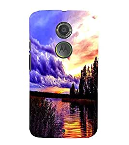 Cloud , Black, Lake, Beautiful Pattern, Printed Designer Back Case Cover for Motorola Moto X2 :: Motorola Moto X (2nd Gen)