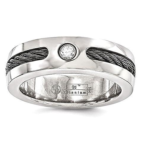 IceCarats Edward Mirell Titanium Cable .10ctw Diamond 925 Sterling Silver Bezel 7mm Wedding Ring Band
