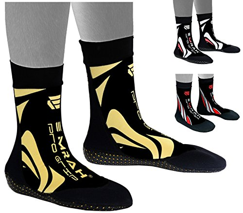 Emrah Neopren Knöchel MMA Grip Ausbildung Kampf Socken Boxing Fuß Hosenträger Knöchel Schuhe Guard Pad, BlackGold, L