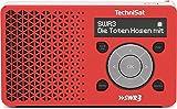 TechniSat DIGITRADIO 1 SWR3-Edition Digital-Radio Made in Germany (klein, tragbar, für Outdoor geeignet) mit Lautsprecher, OLED-Display, DAB+, UKW, Favoritenspeicher, Direktwahltaste zu SWR3 und leistungsstarkem Akku, rot/silber