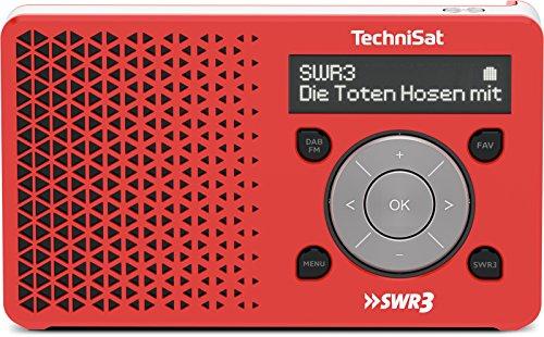 TechniSat DIGITRADIO 1 SWR3-Edition - Digital-Radio Made in Germany (klein, tragbar, für Outdoor geeignet) mit Lautsprecher, OLED-Display, DAB+, UKW, Favoritenspeicher, Direktwahltaste zu SWR3 und leistungsstarkem Akku, rot/silber