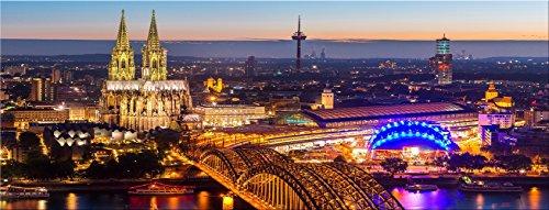 artissimo, Glasbild, 80x30cm, AG3335A, Köln, Kölner Dom bei Nacht, Bild aus Glas, Moderne Wanddekoration aus Glas, Wandbild Wohnzimmer modern