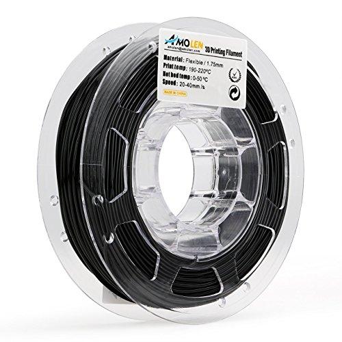 Amolen nero flessibile tpu filamento stampante 3d, 1.75mm 225g,+/- 0.03mm materiali filamenti per stampa 3d, include campione marmo e bronzo filamento.