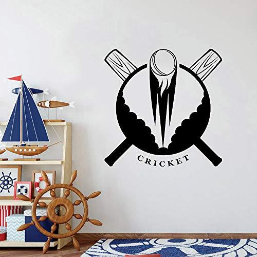 Geiqianjiumai Cricket Bat Ball Wandapplikation Vinyl Kunst Wandaufkleber Teen Boy Dekoration Schlafzimmer Tapete Cricket Spieler Spielzimmer schwarz 30x30cm