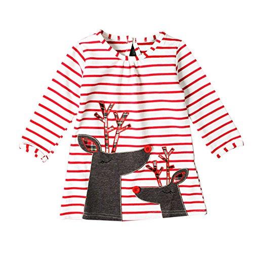 Mädchen Weihnachts-nachthemd (Deylaying Kind Mädchen Pyjama Kleid Weihnachten Nachthemd Lange Ärmel Streifen Elk-Muster Child Kleid 2-8 Jahre Rot Höhe 110cm)
