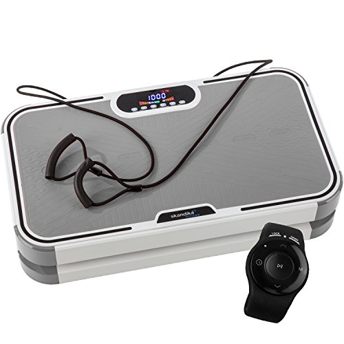 skandika Home Vibration Plate 900 Plus - Plateforme vibrante oscillante - 5 Programmes - 2 Moteurs - Sangles élastiques -Télécommande au poignet (Gris)