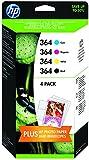 HP HPJ3M82AE 364 Original Ink Cartridges Combination Pack - Mulit-pack (Black, Yellow, Magenta, Cyan), Pack of 4