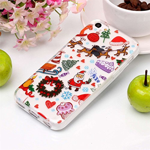 Weihnachten Hülle für iPhone 5c MOONMINI Ultra Dünn Weihnachten Dekoration Weiche TPU Silikon Full Body Schutz Rückseite Transparent Schutzhülle Shell für iPhone 5c Santa Christmas Playground