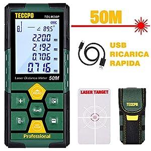 Misuratore Laser 50m,USB Carica Rapida, TECCPO telemetro laser, Decorazione d'interni, Sensore Angolo Elettronico, 99… 51NSeDFhG L. SS300