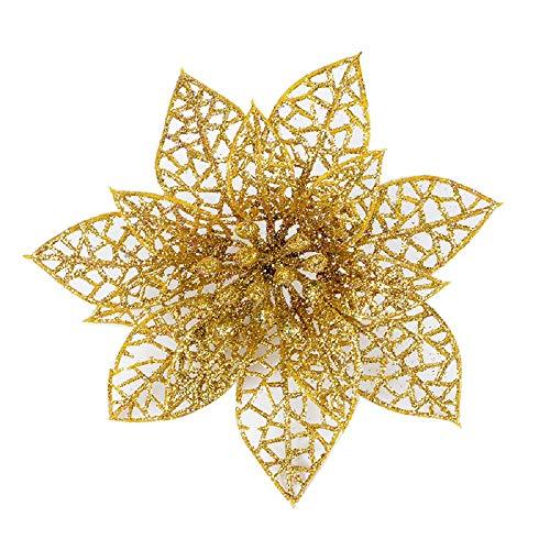 10 fiori artificiali glitterati intagliati, decorazione per matrimoni, feste, albero di natale, ghirlande, pvc, gold, diameter15cm