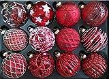 My-goodbuy24 12er Set Luxus Weihnachtskugeln Echtglas Glaskugeln Weihnachten Weihnachtsdeko Christbaumkugeln Set M 6 cm rot