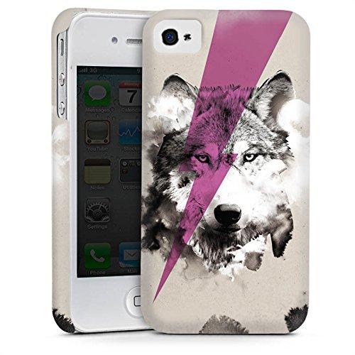 Apple iPhone 4 Housse Étui Silicone Coque Protection Hipster Loup Éclair Cas Premium mat