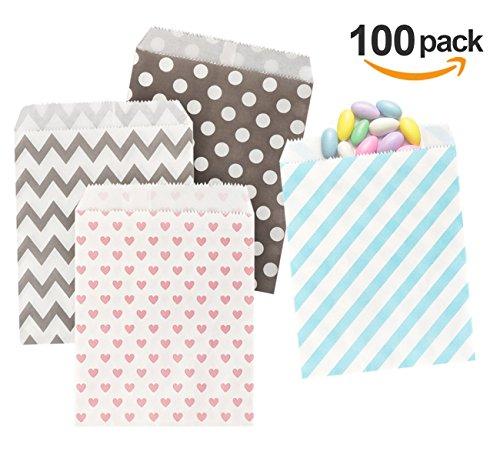 (Absofine Papiertüten Geschenktüten Papier Süßigkeiten Papiertüten für Ostern Hochzeit Geburtstag Feier Parteien 100 Stück 4 Designs mit je 25 Papiertüten)