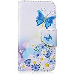 CaseHome Compatible For Samsung Galaxy S6 Edge Wallet Funda,Carcasa PU Leather Cuero Suave Con Flip Case Billetera con Tapa Libro Tarjetas - Mariposa azul y de la margarita