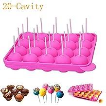 newthinking 20de silicona bandeja Pop Cake Stick mould- Lollipop partido de utensilios para hornear molde, libre de BPA, de calidad alimentaria, pasteles, piruletas, caramelos, Jelly y Chocolate, 20unidades de incienso, no adhesivas, color rosa
