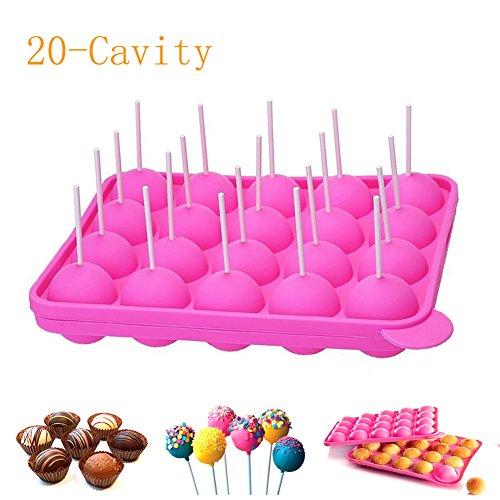 Newthinking 20Silicone Plateau Pop gâteau bâton Mould- Lollipop Party Cupcake Moule à gâteau, sans BPA, alimentaire, tartes, Lollipops, des Bonbons, gelée et chocolat, Lot de 20bâtons, non Collant, Rose