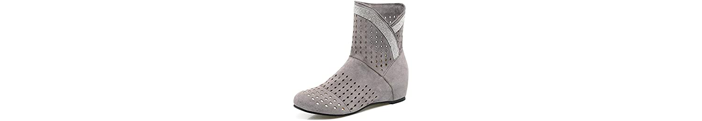 Suede Casual Boots 2017 Nueva Moda Hollow Botas Bare Botas Mujer Botas Respiratorias ( Color : Gray , Size : 35 ) -