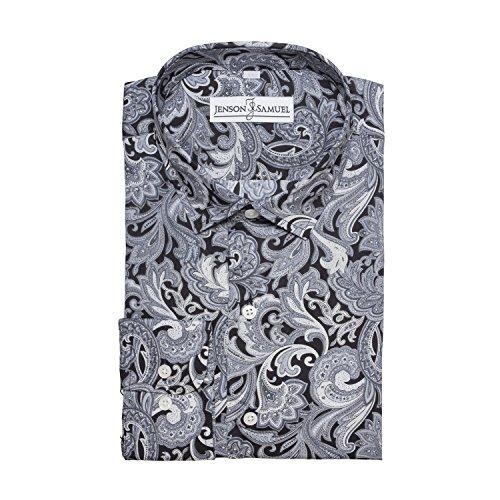 Herren Hemd, 100% Baumwolle, regulŠre Passform, bedruckt mit floralem Paisley-Muster, S M L XL 2XL 3XL 4XL, Kragenweite 37Ð48 cm Gr. XL, Black White Paisley