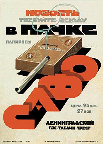 """World of Art Kunstdruck/Poster, russischer Konstruktivismus, Vintage-Stil, Motiv Werbeplakat mit Botschaft """"Frag nach verpackten Zigaretten von Sapho"""", Sowjetunion 1929, russischer Schriftzug, 250g/m², glänzend, A3"""