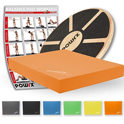 POWRX Balance-Board aus Holz + Balance-Pad Set (Orange)