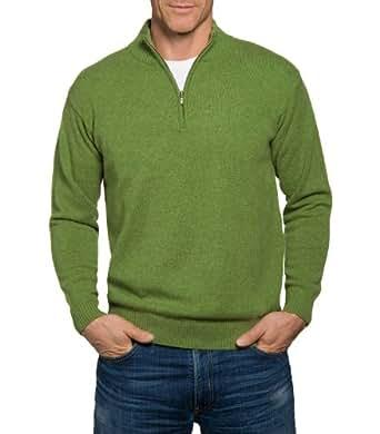 Wool Overs Pull camionneur homme en cachemire et coton Terre verte XS