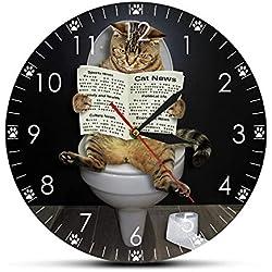 Horloges murales pour salon chaton chat sur la toilette avec le journal silencieux drôle salle de bain mur art décoratif montre de mur cadeau pour les propriétaires de chat acrylique 12 pouces