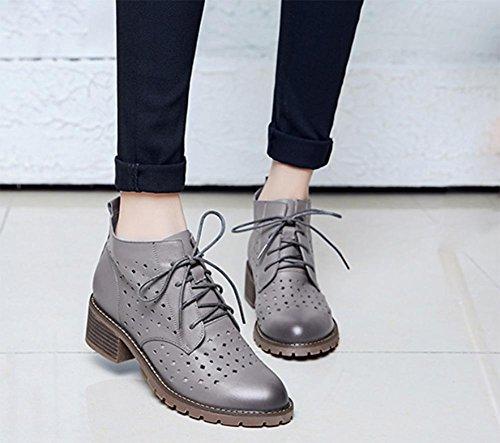 scarpe primavera e l'autunno signora con piazza di spessore con scarpe scarpe traforati di pizzo donne nella scarpa con singolare femminile Grey