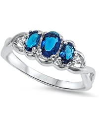 Little Treasures Sterling Silver CZ Blue Sapphire 3 Stone Ring