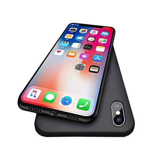 iPhone X Fall, Novo Icon Neue Version iPhone X Slim Fit Hartschale Kunststoff Weiches Hautgefühl Full Kratzfest und Fingerabdruck Schutz Hülle für Apple iPhone X, Schwarz