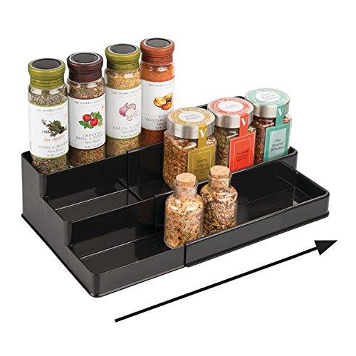 mDesign étagère à épices pour le placard de cuisine - solution de rangement extensible pour garantir l'ordre dans la cuisine - 3 niveaux - couleur : noir