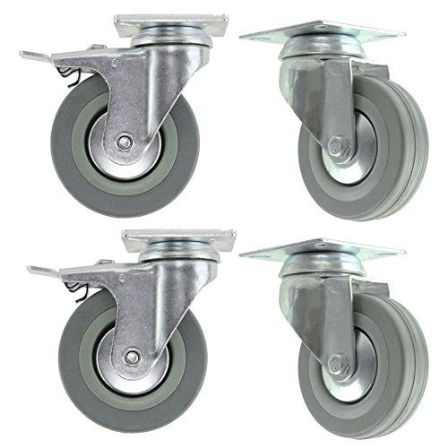 spares2go 100mm schwenkbar//NUR Bremse/Feste Platte Lenkrolle Trockner Lenkrollen (4Stück) 4 x Swivel Brake (Werkzeugkästen Auf Rädern)