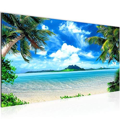 Bilder Strand Palmen Wandbild 100 x 40 cm Vlies - Leinwand Bild XXL Format Wandbilder Wohnzimmer Wohnung Deko Kunstdrucke Blau 1 Teilig - Made IN Germany - Fertig zum Aufhängen 603312a