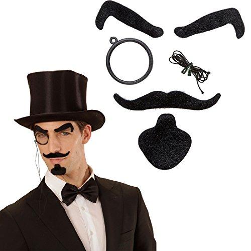 Detektiv Bart schwarz mit Augenbrauen, Schnurrbart, Kinnbart und Monokel 20er 30er Jahre Outfit Lord Edelmann Faschingsbart Sherlock Holmes Kostüm Accessoire Englischer Gentleman ()