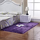 BINGMAX Faux Lammfell Schaffell Teppich Modern Wohnzimmer Teppich Flauschig Lange Haare Fell Optik Gemütliches Schaffell Bettvorleger Sofa Matte Lila 60 * 150
