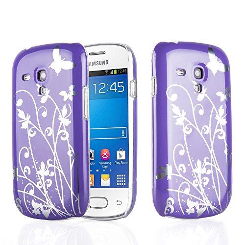 Preisvergleich Produktbild Cadorabo Hülle kompatibel mit Samsung Galaxy S3 Mini Hülle im Schmetterling-LILA Hardcase Handyhülle mit Aufdruck Schutzhülle Bumper Back Case Cover