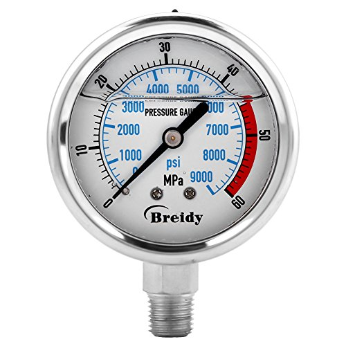 Hydraulische Manometer Edelstahl 304 Skala Flüssigkeit Messing Interna 60MPA/9000PSI Base Entry NPT1/4 Bottom Mount