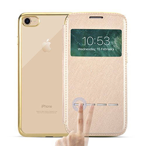 iPhone 8/iPhone 7 Custodia Pelle Folio e Glitter Bling Strass 3D DIY con Cinghie di telefono - Bonice Case Fatto a Mano Diamonte,PU Leather Con Super Sottile TPU Cover Interno,Morbido Protettiva Porta model 02