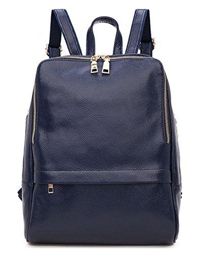 Greeniris Damen echtes Leder Rucksack Damen Mode Schulranzen für Damen/Mädchen Blau