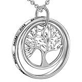 LOVORDS Damen Halskette Gravur 925 Sterling Silber Lebensbaum Familie Kreis Kette Anhänger Mutter Geschenk für Mama