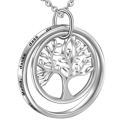 LOVORDS Damen Halskette aus 925 Sterling Silber Lebensbaum Anhänger mit Gravur Geschenk für Mama