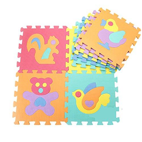 Sun worlds-tapis-Puzzle uni mulricouleur Spielmatte aus Schaumstoff-Teppich Kinder (jedes Gruppe von 10) -alphabets & Zahlen & Obst & Tiere Animaux