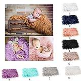 OULII Foto de bebé accesorios piel suave edredón tapete fotográfico bebé DIY fotografía foto abrigo de bebé accesorios favores (Caqui)