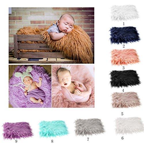 OULII Baby Foto Requisiten weiches Fell Quilt fotografischen Matte DIY neugeborenes Baby Fotografie Wrap-Babyfoto Props Gefälligkeiten (Beige) Baby-foto Requisiten