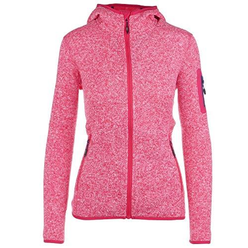Strickfleecejacke Damen CMP Outdoor Fleecejacke dünn Sweatjacke mit Kapuze Strickjacke große Größen Kiara II, Farbe:Pink, Größe:42