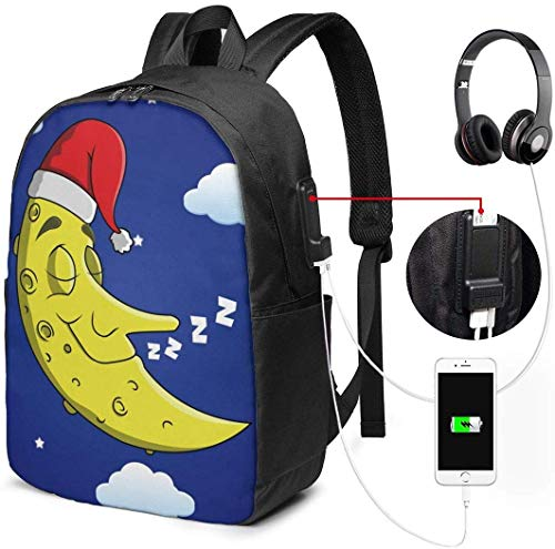 Sleeping Moon College Rucksack Student Bookbag Laptop Busin Rucksack mit USB-Ladeanschluss School Daypack