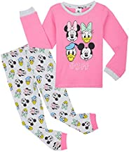 Disney Pijama Niña, Pijama Niña Invierno con Personajes Mickey Mouse Minnie Pluto, Conjunto 2 Piezas Camiseta