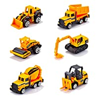 Wokee Construction Vehicles, Engineering Vehicles Cars Toy Friction Powered Kids Diggers and Dumpers toys, Street Roller, Bulldozers, Forklift, Asphalt Car 6 Car Sets Toy for Children Kids