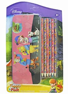 My Friends Tigger and Pooh Tin Pencil Case and 6 Pack Colored Pencil - Winnie...